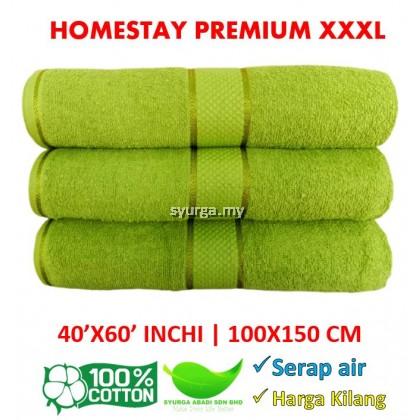 Homestay Premium Quality COTTON 100% SAIZ XXXL 40X60INCHI /100X150CM 600GRAM